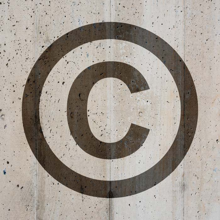 Copyright Symbol On Distressed Background