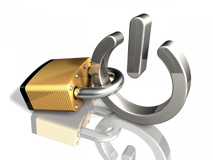 Vector illustration of pad lock on power button