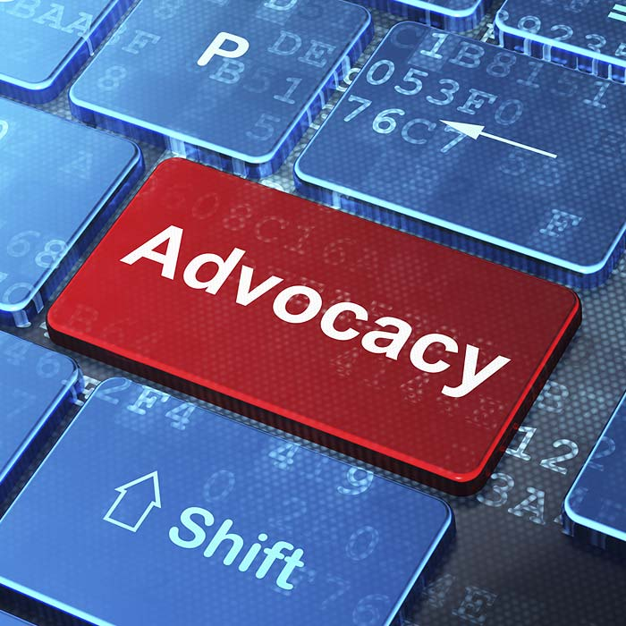 Laptop Button That Says Advocacy