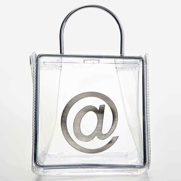 Clear Plastic And Metal Shopping Bag With @ Symbol On It